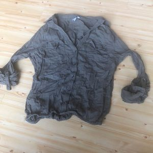 Xs guess blouse cinched waist button down NWOT